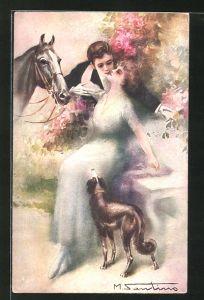 Künstler-AK M. Santino: Liebespaar im Park mit Pferd und Hund
