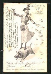 Künstler-AK Theo Zasche: Dame steht auf einem Glücksschwein