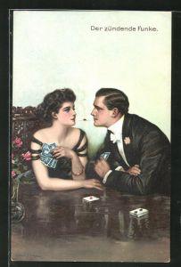 Künstler-AK Clarence F. Underwood: Der zündende Funke, Paar am Kartentisch
