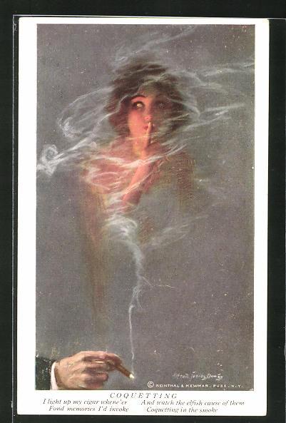 Künstler-AK Alfred James Dewey: Coquetting, Frau im Rauch von einer Zigarre