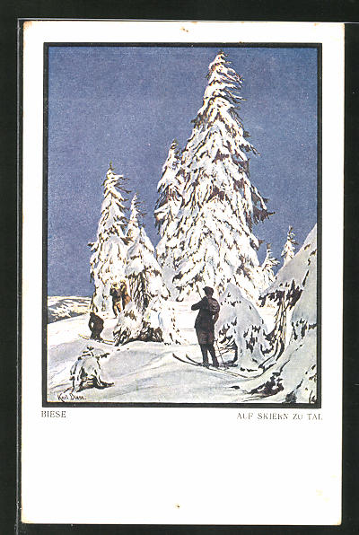 Künstler-AK Carl Biese: Auf Skiern zu Tal, Skifahrer vor einem Tannenbaum im Schnee