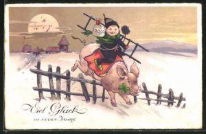 AK Schornsteinfegerjunge auf einem Glücksschwein im Schnee, Neujahrsgruss