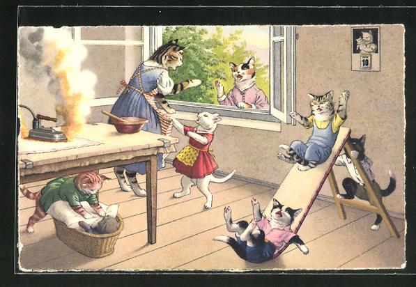 AK Katze mit einem brennenden Bügeleisen