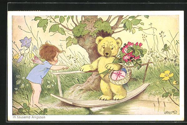 Künstler-AK Fritz Baumgarten: In tausend Ängsten, Teddy mit Korb und Blumen läuft über eine Brücke