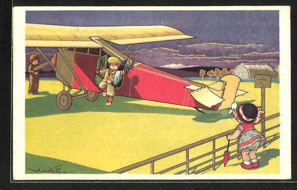 Künstler-AK Castelli: Junge steigt aus einem Flugzeug aus