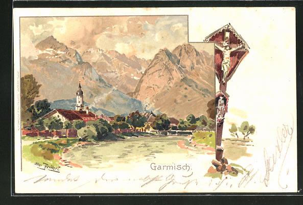 Künstler-AK Otto Strützel: Garmisch, Ortspartiemit Bergen und Jesus am Kreuz