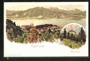 Künstler-AK Otto Strützel: Neureut am Tegernsee, Teilansicht und Ortspartie