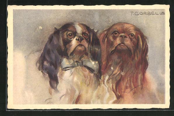 Künstler-AK Tito Corbella: Zwei Pekinesen mit Schleife