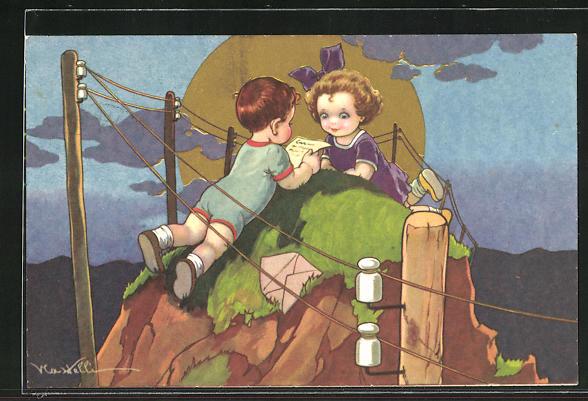 Künstler-AK Castelli: Junge liest dem Mädchen auf einem Felsen einen Brief vor