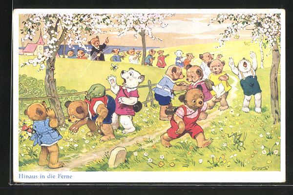 Künstler-AK Fritz Baumgarten: Hinaus in die Ferne, Teddybären bei einem Ausflug
