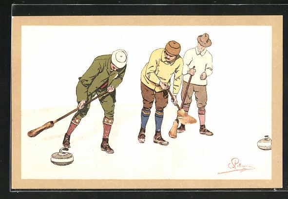 Künstler-AK Carlo Pellegrini: Männer spielen Curling auf Eis