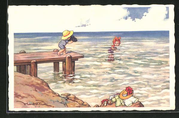 Künstler-AK Castelli: Mädchen im Meer wird von anderem Kind fotografiert
