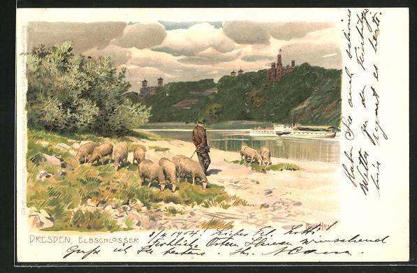Künstler-Lithographie Paul Hey: Dresden, Elbschlösser, Schäfer mit Herde blickt auf Elbe und Schlösser