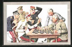 Künstler-AK Theo Zasche: deutsche, französiches, russische Offiziere beim Schach spielen
