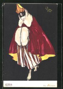 Künstler-AK sign. E. Scchetti: elegante Dame mit Muff