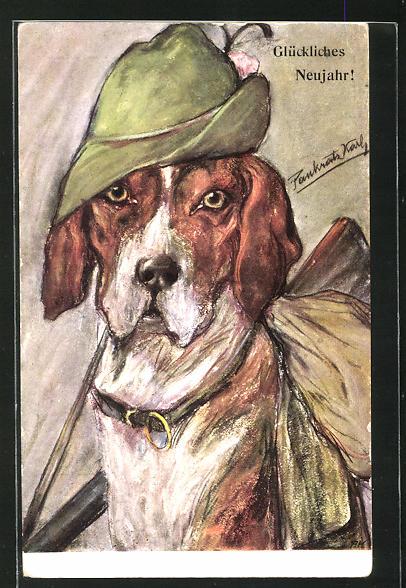 AK Glückliches Neujahr!, Jagdhund mit Hut