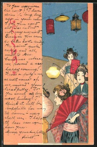 Künstler-AK Raphael Kirchner: Geisha, Frauen in Kimono mit Lampions