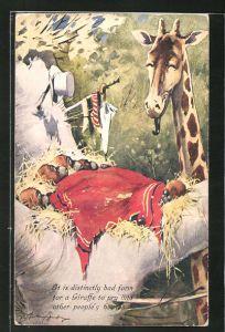 Künstler-AK George Ernest Studdy: It is distinctly bad form..., Scherz, Giraffe und Orang-Utans