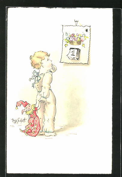 Künstler-AK Inge Schott: Bub mit Kasperlpuppe vor Kalenderblatt