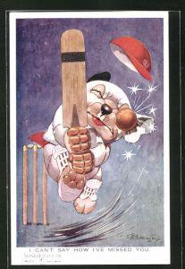 Künstler-AK George Ernest Studdy: I can`t say how I`ve missed you, Scherz, Bonzo spielt Cricket