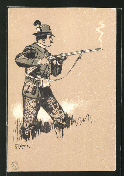 Präge-Künstler-Lithographie Arthur Heyer: Jäger mit Schrotflinte