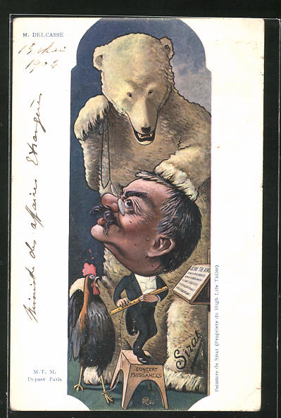 Künstler-AK sign. M. Delcassé: Concert des Puissances, Karikatur von französ. Politiker und Eisbär