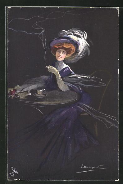 Künstler-AK sign. E. Occhipinti: Dame mit Zigarette