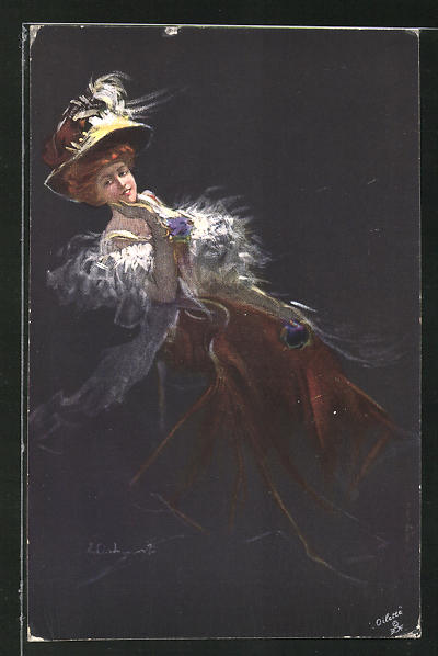 Künstler-AK sign. E. Occhipinti: junge Dame mit Hut