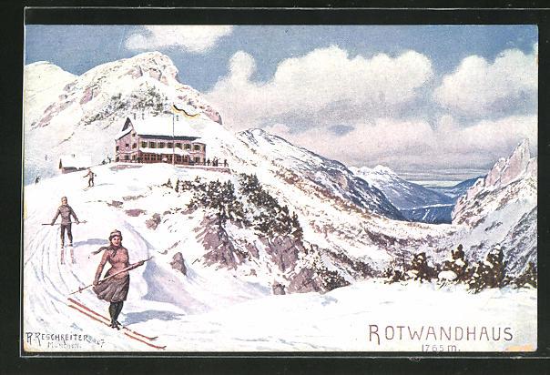 Künstler-AK Rudolf Reschreiter: Rotwandhaus, Skiläuferin