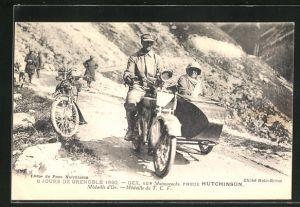 AK Jours de Grenoble 1920, Gex sur Motosacoche, Motorrad mit Beiwagen