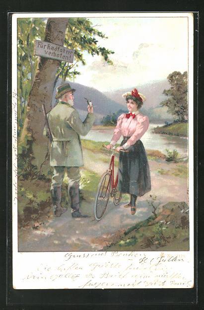 Lithographie Förster verbietet einer Frau das Fahrradfahren