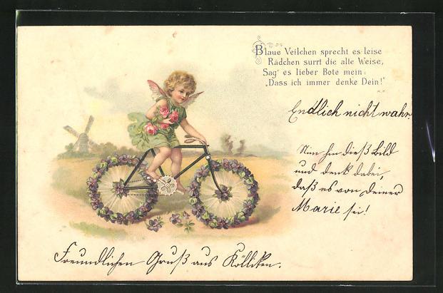 Lithographie Engelchen auf einem Fahrad mit Reifen aus Veilchen
