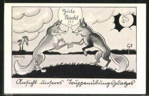 Künstler-AK Ferdinand Barlog: zwei Füchse sagen sich Gute Nacht