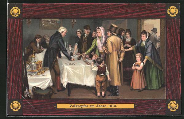 AK Befreiungskriege 1813, Volksopfer, Tauschgeschäfte