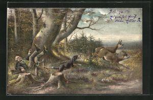 AK Jäger stolpert im Wald, so dass das Wild fliehen kann, Jagdhumor