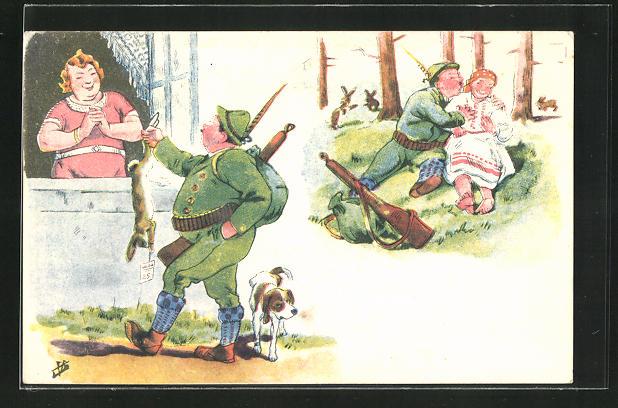 AK Jäger bringt seiner Frau den erlegten Hasen und tummelt sich gleichzeitig mit seiner Geliebten im Wald, Jagdhumor