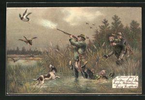 AK Jäger schiessen Enten am See, Jagdhumor