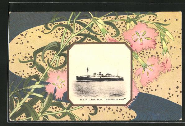 Künstler-AK Japanische Kunst, Passagierschiff Asama Maru und Blumen am Wegesrand