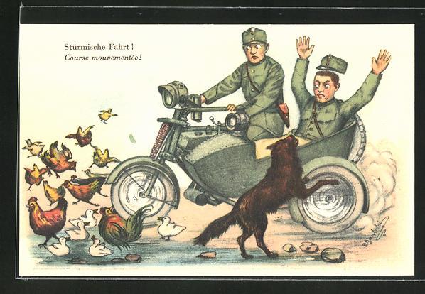 AK Sürmische Fahrt!, Zwei schweizer Soldaten in Uniformen auf einem Motorrad mit Hund und Hühnern