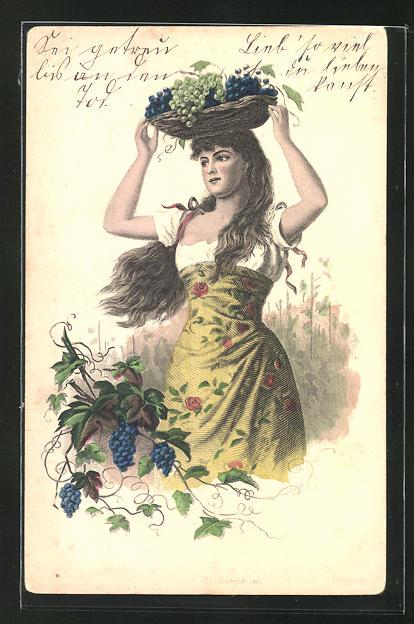 AK Fau mit einem Korb Weintrauben auf dem Kopf