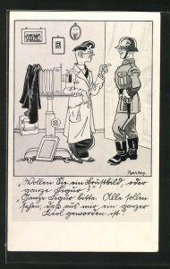 Künstler-AK Ferdinand Barlog: Soldat in Uniform mit Helm beim Arzt