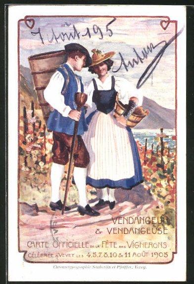 Künstler-AK Vevey, Vendangeur & Vendangeuse, Fete des Vignerons 1905, Weinbauer