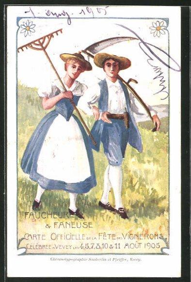 Künstler-AK Vevey, Faucheur & Faneuse, Fete des Vignerons 1905, Weinbauer, Trachtenpaar