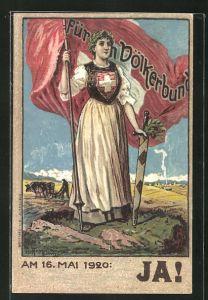 Künstler-AK Schweiz, Am 16. Mai 1920: JA!, Helvetia mit Banner