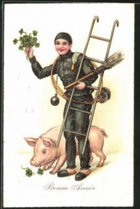 Lithographie Schornsteinfeger grüsst mit Glücksklee und Schwein