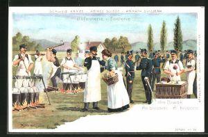 Lithographie Schweizer Infanterie im Feldlager, Zubereitung des Essens