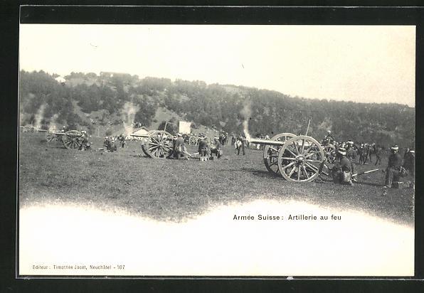 AK Armée Suisse: Artillerie au feu