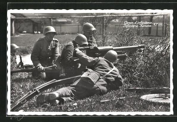 AK Schweizer Soldaten mit Infanterie-Kanone in Feuerstellung, Canon d`infanterie