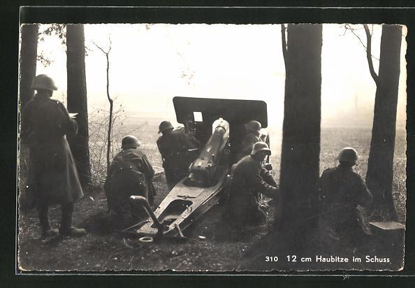 AK Schweizer 12 cm Haubitze im Schuss