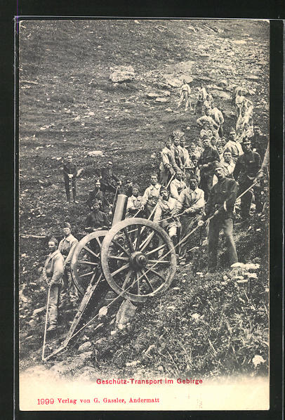 AK Geschütz-Transport im Gebirge